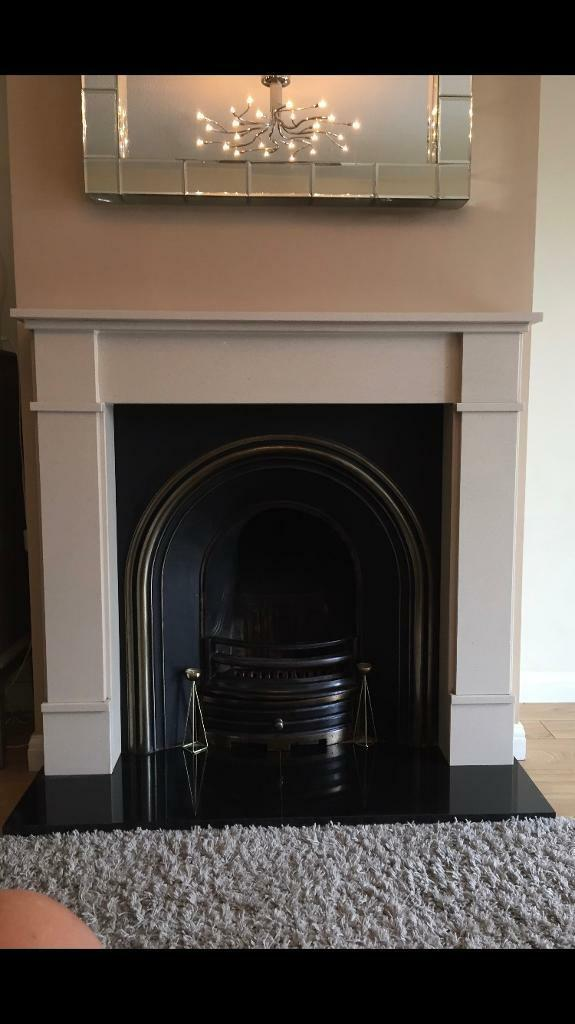 Fireplace Suite Open Fire With Marble Surround And Black Granite Hearth