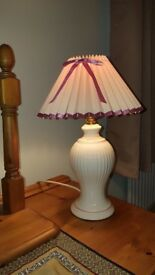 Table Lamp with china body and white and red shade.