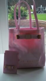 Ted Baker pink Bow Icon Shoulder Bag + matching mobile pouch case