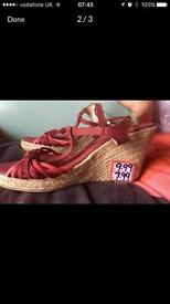 New red canvas wedge sandals