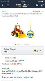 Brand new!SGILE Race Car Tractor Remote Control Police Car Toy for Toddlers and Kids (Red)