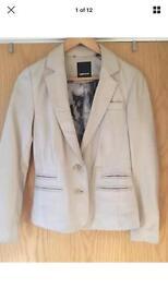 Ted Baker Cream Leather Jacket / Suit Jacket Size 1