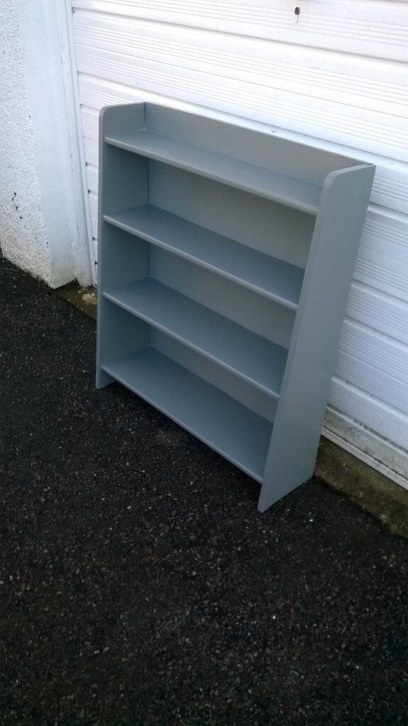 Bookcase Four Shelves Painted In Grey Satin Furniture PaintWooden