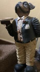 Dog butler statue