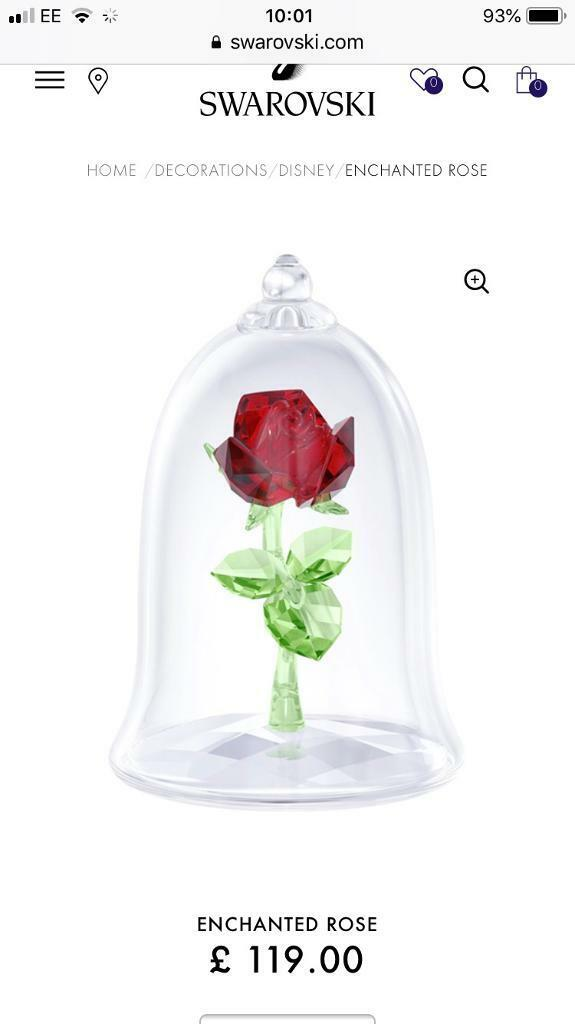 Genuine Swarovski Crystal Beauty And The Beast Rose IN BOX Perfect For Engagement Wedding Gift