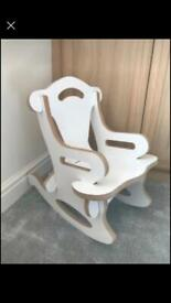 Children's white wooden rocking chair 55cm tall