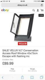 New side hung Velux escape window.