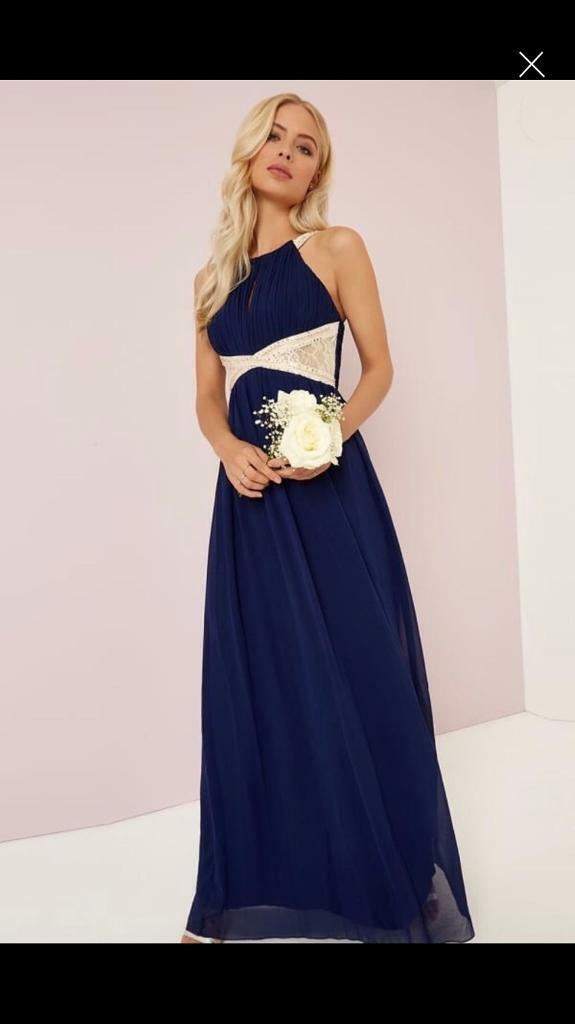 LITTLE MISTRESS NAVY FLORAL PROM DRESS SIZE 6 AND 8 NEW WITH TAG