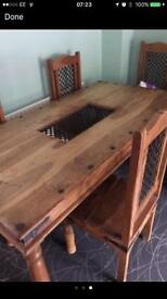 6ft by 4ft solid wood table and chairs