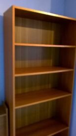 Teak effect bookcas with 4 shelves - 2 fixed and 2 adjustable. Collection only please.