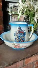 Antique wash bowl and jug