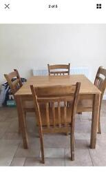 Wood dining table and 4 chairs