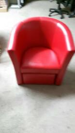 Real leather tubs chair with footstool