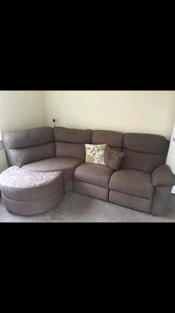 SCS large curved sofa suit with armchair and footstool. Both ...