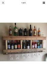 Rustic Handmade Pallet Wine Rack/Mini Bar Wall mountable Alcohol Storage