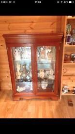 Yew wood glass door display cabinet