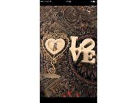 Heart Picture Frame & Love Wooden Plaque Sign