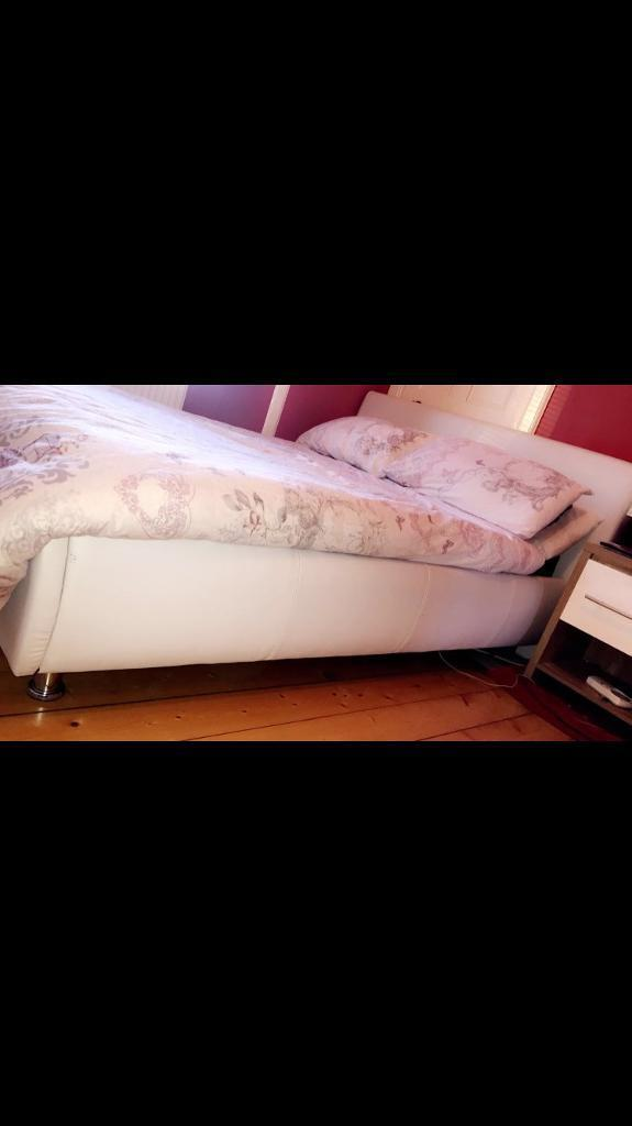 White Leather and Chrome Double Bed
