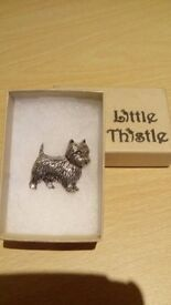 Terrier Pin/Brooch in Silver. New never used, still in the box. From Little Thistle.