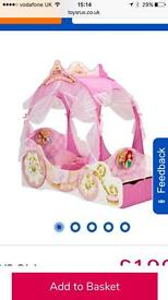 Disney princess carriage bed with mattress and sheets