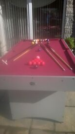 snooker/pool/billiards table 6ft x 3ft complete with accessories v.g.c.