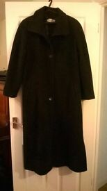 Long Wool black coat size 18/20