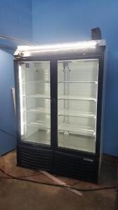 Double door glass freezer
