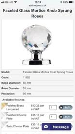Crystal door knobs 12xpairs. Collection only