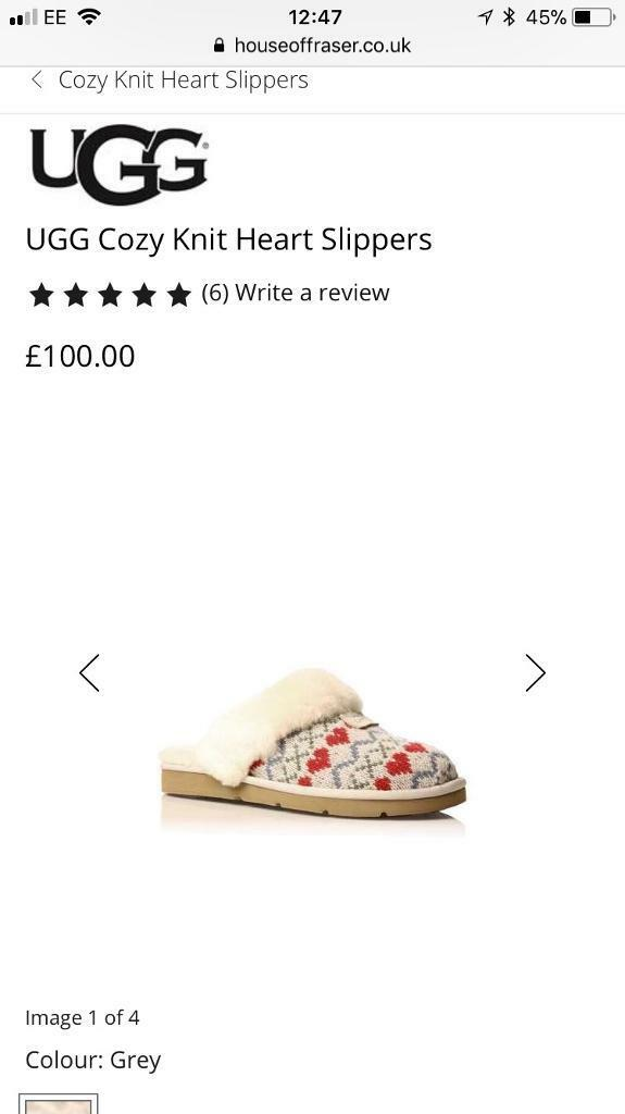 Genuine Ugg Cozy Knit Heart Slippers In East Boldon Tyne And Wear