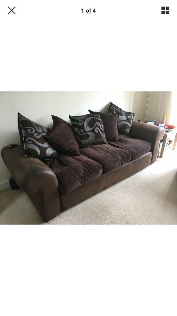 3 Seater Brown Fabric Sofa Cushions