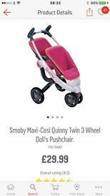 Quincey twin 3 wheel dolls pushchair