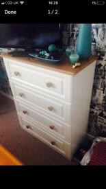 Solid oak chest drawers