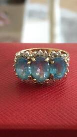 Blue Topaz and Diamond ring - size L