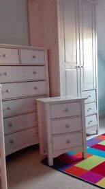 White Bedroom Wardrobe Chest of Drawers & Bedside Table