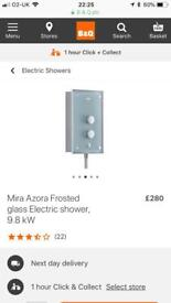 BNIB Mira Azora frosted frosted glass electric shower