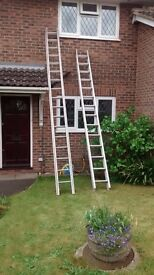 Long Heavy Duty Aluminium double extension ladder - 14 foot 9 closed/28 foot extended