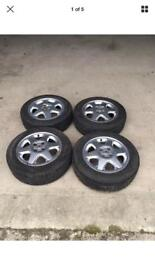 VAUXHALL 195/60 15 4 STUD 6 SPOKE ALLOY WHEELS WITH TYRES