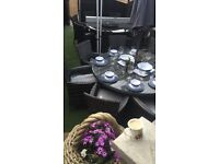Rattan 8 seater table and chairs in grey