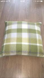 5 Excellent Condition Green and White Checked Matalan Cushions