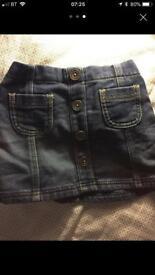 Baby girls 18-24 months skirts Next denim soft