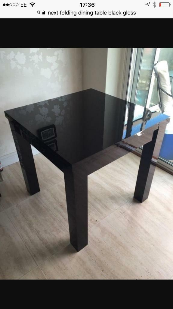 NEXT BLACK DINING TABLE +CHAIRS