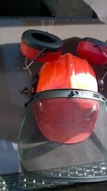 Hard hat for chainsaw use