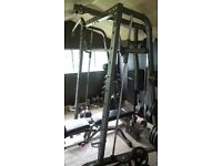 smith machine with bench and weights