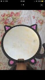 Handmade mosaic hanging wall cat mirror