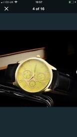 20x YELLOW FACE GENEVA WATCH FOR SALE BLACK/BROWN STRAP