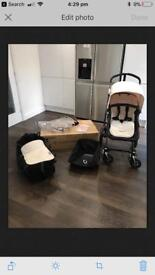 Bugaboo Cameleon 3 Black Chassis with Off White Fabrics and Bassinet
