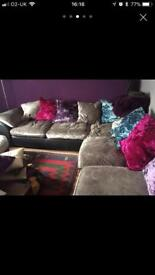 DFS large corner velvet suite, footstool and swivel chair