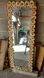 Hand Crafted Wood Slice Mirror