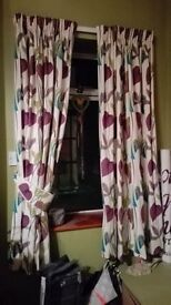 Beautiful purple/green floral curtains: Specially made x2