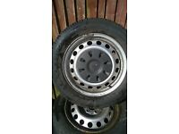 mercedes steel wheels and centre caps (mint tyres )